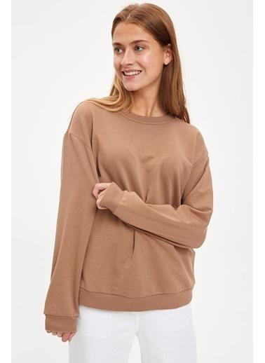 DeFacto Yarım Düşük Omuz Sweatshirt Bej